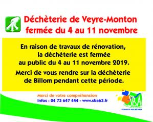 Fermeture exceptionnelle de la déchèterie de Veyre-Monton
